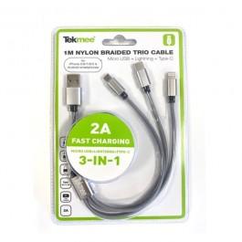 Câble USB 3-en-1 en nylon tressé 2A Tekmee