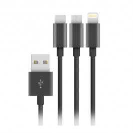 Cable Nylon Elégance 3 en 1 (Lightning/Micro USB/USB-C) Wave Concept